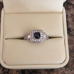 Jewelry - 14k Lab sapphire and diamond ring.